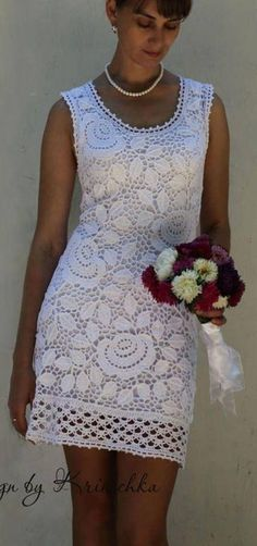 what a beautiful irish crochet dress. Moda Crochet, Crochet Motifs, Freeform Crochet, Irish Crochet, Crochet Lace, Crochet Patterns, Crochet Skirts, Crochet Blouse, Crochet Clothes