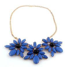 Hot Sale Women's Party Charm Blue Resin Rhinestone Flower Pendant Bib Necklace #Handmade #Bib