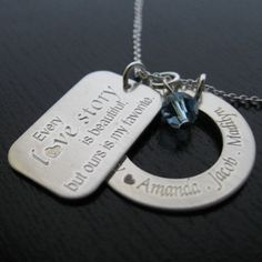 DIANA - Simple Eternity engraved personalized necklace with love story quote engraved charm