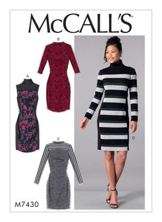 McCall's M7430 Misses' Knit Side-Panel Dresses with