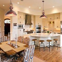 Kitchen Pendant Lighting, Kitchen Pendants, Open Kitchen Layouts, Open Concept Kitchen, Open Kitchen And Living Room, Dining Room, Kitchen Dining Combo, Just Dream, Kitchen Trends