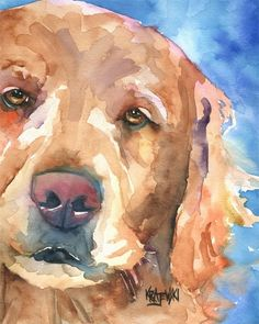 watercolor of Golden Retriever... just because I love my dog! by monik.franklinl