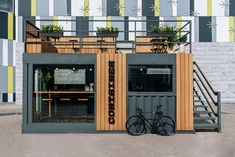 Cafe Shop Design, Coffee Shop Interior Design, Kiosk Design, Restaurant Interior Design, House Design, Container Coffee Shop, Container Shop, Container House Plans, Container Design