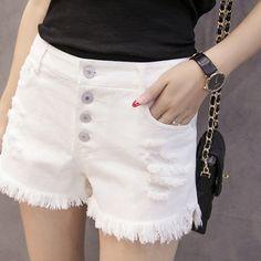 White high waist student hole burr stretch thin pants USD $9.96 / piece http://www.idealmalls.com/item/546551937215