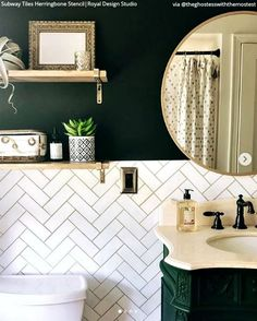 Subway Tiles Herringbone Wall Stencil - Home - Badezimmer Upstairs Bathrooms, Downstairs Bathroom, White Bathroom, Modern Bathroom, Bathroom With Tile Walls, Green Bathroom Decor, Bathroom Wall Ideas, Art Deco Bathroom, Eclectic Bathroom
