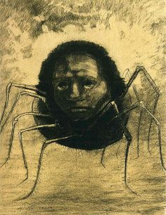 The Crying Spider (1881) by Odilon Redon. read Colin Dickey's excellent article on Redon and Flaubert, including more of Redon's strange and haunting images, here: http://publicdomainreview.org/2013/03/07/the-redemption-of-saint-anthony/