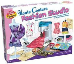 """Creative Toys Haute Couture Fashion Studio by Creative Toys. $40.37. Includes fabric jewels and more. Runway fashion designer playset. Requires 4 AA batteries (not included). From the Manufacturer                Design and sew your own hot runway fashions with a fully equipped studio for budding fashion designers. Create outfits for your 11"""" fashion dolls using the patterns included. Four mannequins will assist you while designing. Includes battery-operated sewing..."""