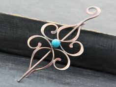 Shawl pin, hair slide, hair barrette, sweater pin, copper and turquoise howlite hair pin, elegant, oxidized, swirls, blue, hair accesories by Keepandcherish on Etsy