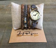 Montre bracelets femme boho chic à enrouler deux tours Wood Watch, Boho Chic, Tours, Watches, Bracelets, Accessories, Etsy, Wristwatches, Unique Jewelry