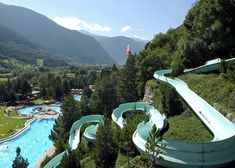 Giant Hillside Water Slide, Brigerbad, Switzerland now this is a water park! Places Around The World, Oh The Places You'll Go, Places To Travel, Places To Visit, Around The Worlds, Dream Vacations, Vacation Spots, Wonderful Places, Beautiful Places
