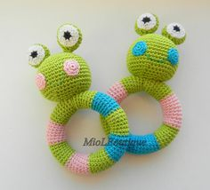 Crochet baby toy Frog Teething baby toy  Grasping von MioLBoutique