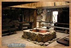 Vikings hall by ~Marqoni on deviantART . I love the stone in the center Vikings Live, Norse Vikings, Faux Foyer, Viking Hall, Mead Hall, Viking Decor, Viking House, Viking Village, Long Hall