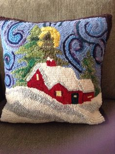 Melodie Fairburn and Donna Landry hooked rug technique pillow, winter scene Rug Hooking Designs, Rug Hooking Patterns, Penny Rugs, Christmas Rugs, Punch Needle Patterns, Rug Inspiration, Hand Hooked Rugs, Latch Hook Rugs, Geometric Rug