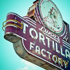 vintage dallas neon signs | Dallas Texas Neon Sign Vintage Retro Roadside - Fine Art Photograph ... Luna's Tortilla Factory