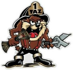 taz | Taz Fireman Color Decal, taz cartoon decal, cartoon sticker, car decal ...