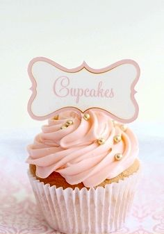 Do the rest of the cupcakes like this. Rose frosting and then a few tiny pearls in pink, white or gold (gotta see what michaels has): White Cupcakes, Flower Cupcakes, Yummy Cupcakes, Cupcake Cookies, White Wedding Cakes, Wedding Cupcakes, Party Cupcakes, Cupcake Heaven, Baby Shower Cupcakes