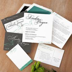 Bella Square Invitation Suite  Modern Wedding Invitation Set