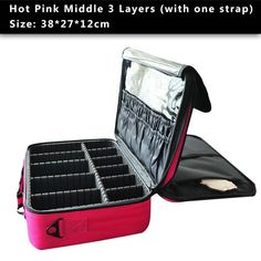 High Quality Professional Makeup Organizer Cosmetic Travel Case/ Large Capacity Storage Bag Suitcase - Hot Pink M 3 Layers - Makeup Tools, www.looklovelust.com - 8