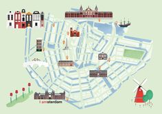 illustrated map amsterdam ~ illustration