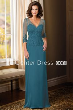 Sheath Appliqued Illusion-Sleeve V-Neck Floor-Length Chiffon Mother Of The Bride Dress With Waist Jewellery - UCenter Dress Mother Of Bride Outfits, Mother Of The Bride Gown, Mother Of Groom Dresses, Prom Dresses With Sleeves, Mob Dresses, Mothers Dresses, Bridesmaid Dresses, Bride Groom Dress, Long Mothers Dress