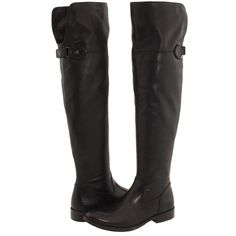 Frye Shirley Over-The-Knee Riding (Black Leather) Women's Pull-on... ($350) ❤ liked on Polyvore featuring shoes, boots, frye, zappos, over-the-knee boots, thigh high boots, black low heel boots, black riding boots and over the knee thigh high boots