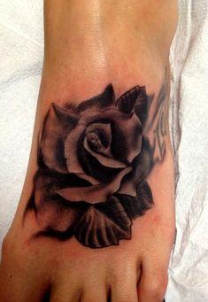 Rose tattoo on foot | All tattooed | Pinterest