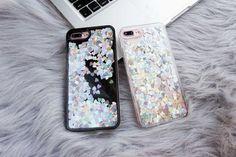 cute Iphone 6 glitter case silver hearts