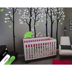 2017 New Tree Wall Decals Size 235X353CM Birch trees with elephant and birds Nursery decor for your baby's room