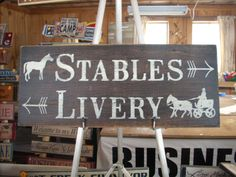 Stables Livery shabby primitive wood painted sign by ShabtownSigns