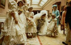 Lady Diana Spencer talking to one of her bridesmaids pre-ceremony