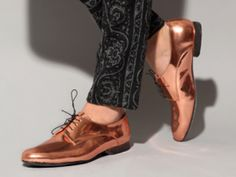 Copper brogues by Verlain.    Verlain copper foil brogue shoes with black thin lace up and black leather stacked 0.8″ heel.