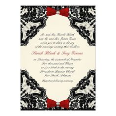 DIY Ivory, Red, and Black Lace Wedding Invitation