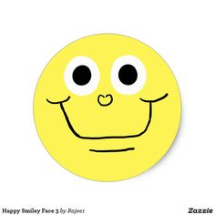 Happy Smiley Face 3 Classic Round Sticker