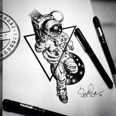 Badass Tattoos, Body Art Tattoos, Tattoos For Guys, Sleeve Tattoos, Tatoos, Astronaut Drawing, Astronaut Tattoo, Tattoo Sketches, Tattoo Drawings