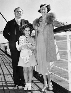 Shirley Temple, with her parents George and Gertrude Temple, on vacation, 1930s.