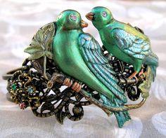 Love Birds Hand painted Cuff Bracelet