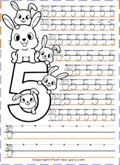 Preschool number 5 tracing worksheets - Printable Coloring Pages For Kids
