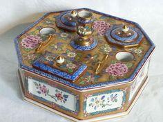 victorian era inkwell sets | Dresden vintage Victorian antique ladies inkwell desk set #Inkwells