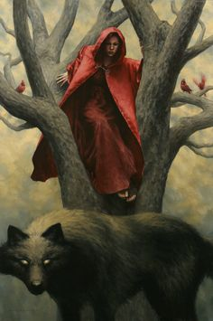 'Red' by Ryan Pancoast. // Reference: Little Red Riding Hood, Little Red Cap or Le Petit Chaperon Rouge (via writer and story collector Charles Perrault). The story of Little Red Riding Hood is referenced in 'Random Magic' (Sasha Soren). Vampires, Red Ridding Hood, Red Riding Hood Wolf, Charles Perrault, Big Bad Wolf, Red Hood, Little Red, Werewolf, Dark Art