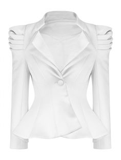 Women's Button Panel Pleated Puff Shoulder White Peplum Jacket