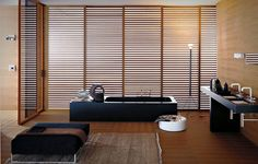 awesome wooden window blind in japanese bathroom feat unique vanity design and…