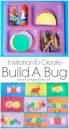 Invitation To Create: Build A Bug. Open ended creative insect paper craft for kids. Great for color recognition & fine motor development. Perfect for toddlers and preschoolers. Spring Preschool Theme, Spring Activities, Fine Motor Activities For Kids, Preschool Arts And Crafts, Spider Art Preschool, Art Activities For Kindergarten, Flower Craft Preschool, Spring Craft For Toddlers, Easy Crafts For Toddlers