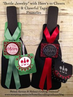 """Check out my fun """"Bottle Jewelry"""" using the Here's to Cheers Stamp Set & Cheerful Tags Framelits! These products OnSale through the Online Extravaganza!"""