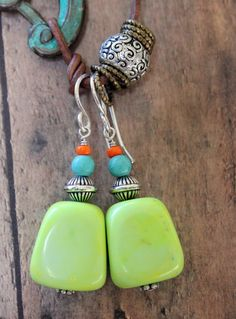 Gypsy earrings - yellow and blue turquoise