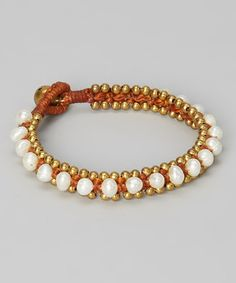 Look what I found on #zulily! White Pearl Braided Bracelet by PANNEE JEWELRY #zulilyfinds