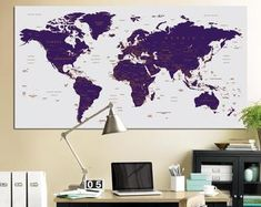 This item is unavailable World Map Pin Board, World Map With Pins, Push Pin World Map, Large World Map Poster, Framed World Map, Framed Maps, Kids World Map, World Map Canvas, World Map Wall Art