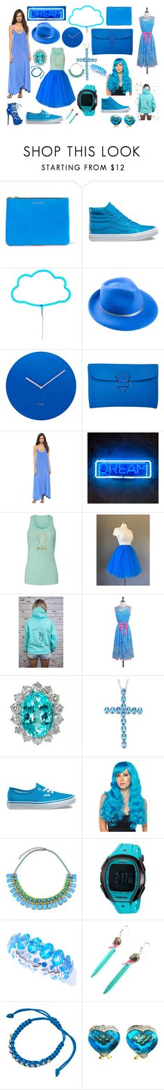 """""""Neon Blue"""" by madmaggie20 on Polyvore featuring moda, Comme des Garçons, Vans, A Little Lovely Company, Mademoiselle Slassi, Lund London, Maison Thomas, Pink Stitch, Rock On Ruby e Eva Franco"""