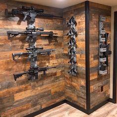 Weapon Storage, Gun Storage, Weapons Guns, Guns And Ammo, Casa Bunker, Gun Safe Room, Gun Closet, Tactical Wall, Tactical Gear