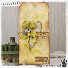 Gorgeous Wild Honey Stained Damask Tag Tutorial  from Tammy Tutterow Tutorial | Satin Damask Background