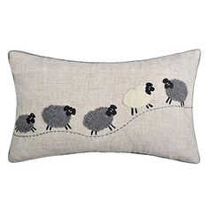 JWH Sheep Applique Accent Pillow Cases Cashmere Cushion Covers Handmade Pillowcases Home Sofa Car Bed Living Room Office Chair Decor Pillowslips 12 x 20 inch Linen Applique Cushions, Wool Applique Patterns, Sewing Pillows, Applique Embroidery Designs, Handmade Cushions, Decorative Cushions, Cushion Inspiration, Sheep Crafts, Animal Cushions